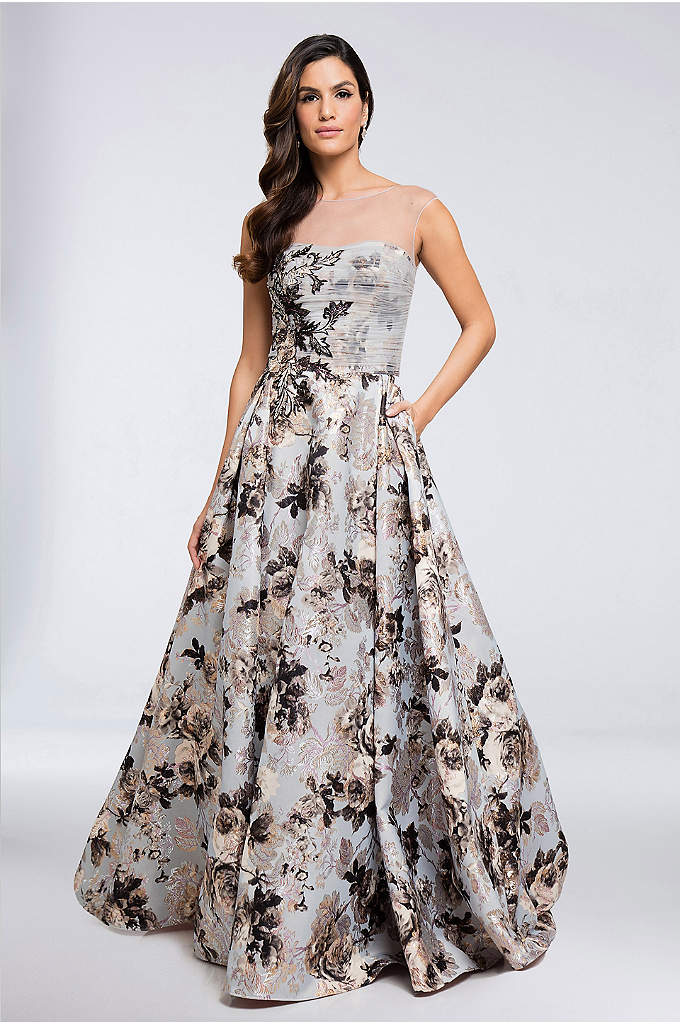 Embellished Brocade Illusion Neckline Ball Gown - Make an unforgettable entrance in this brocade ball
