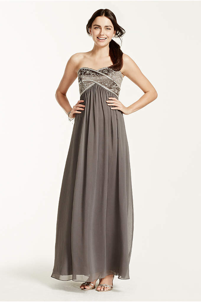 Long Strapless Chiffon Dress and Pleated Bodice | David's Bridal
