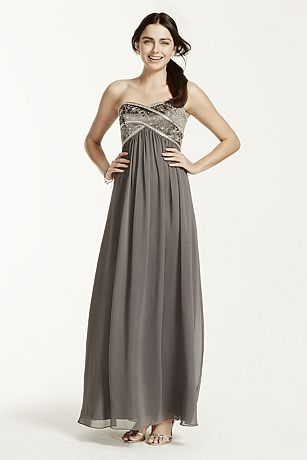 Long Chiffon Strapless Dress with Beaded Bodice