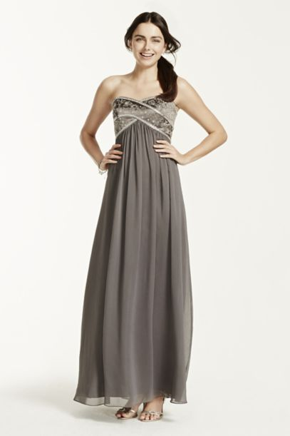 Long Chiffon Strapless Dress with Beaded Bodice - Davids Bridal
