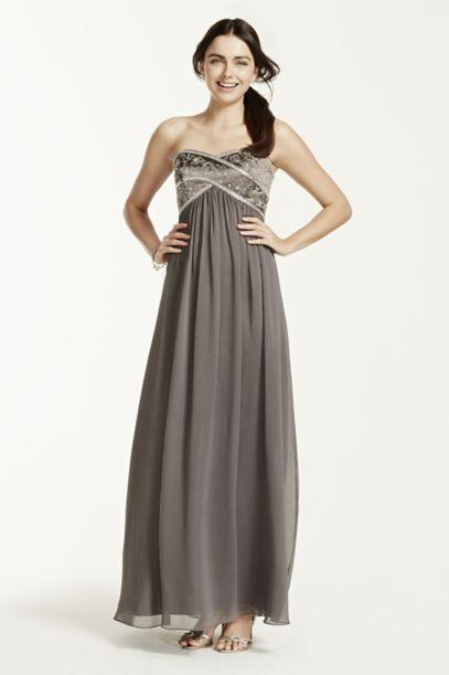 Long Chiffon Strapless Dress with Beaded Bodice | David's Bridal