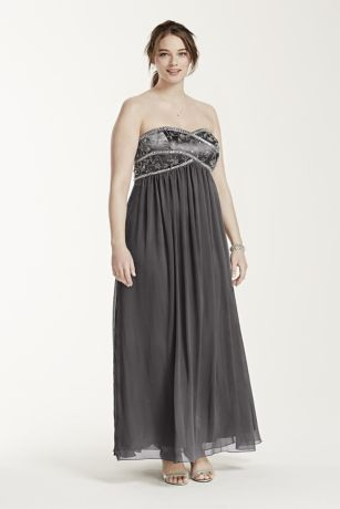 gray strapless maxi dress beaded a line