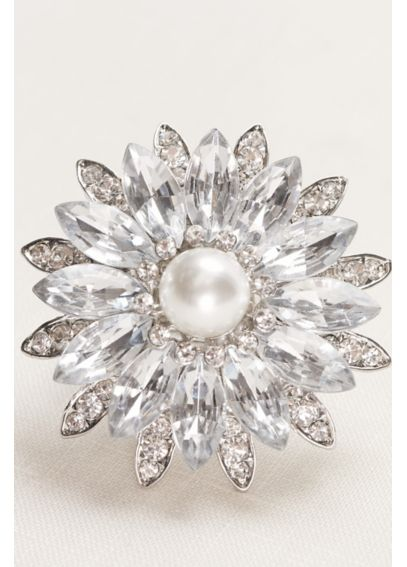 Crystal and Pearl Flower Stretch Ring 1743562