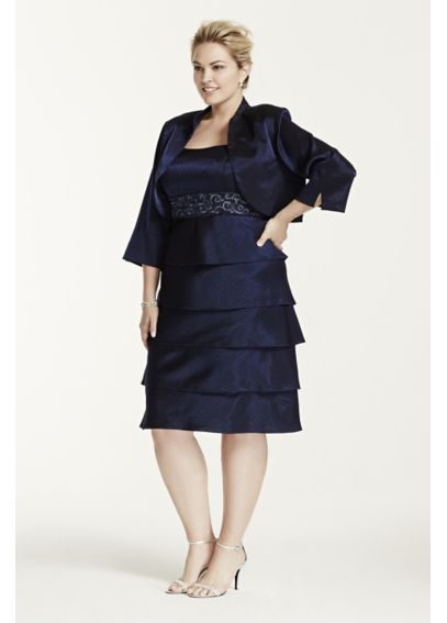 3/4 Sleeve Short Shimmer Jacket Dress 1752W