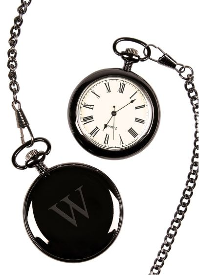 Personalized Gunmetal Finish Pocket Watch - Wedding Gifts & Decorations
