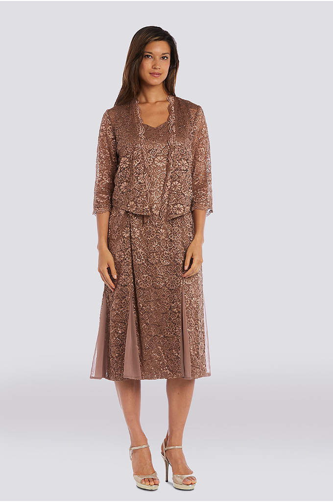Glitter Lace Godet Midi Dress with Jacket - This glitter lace midi with chiffon godets shimmers