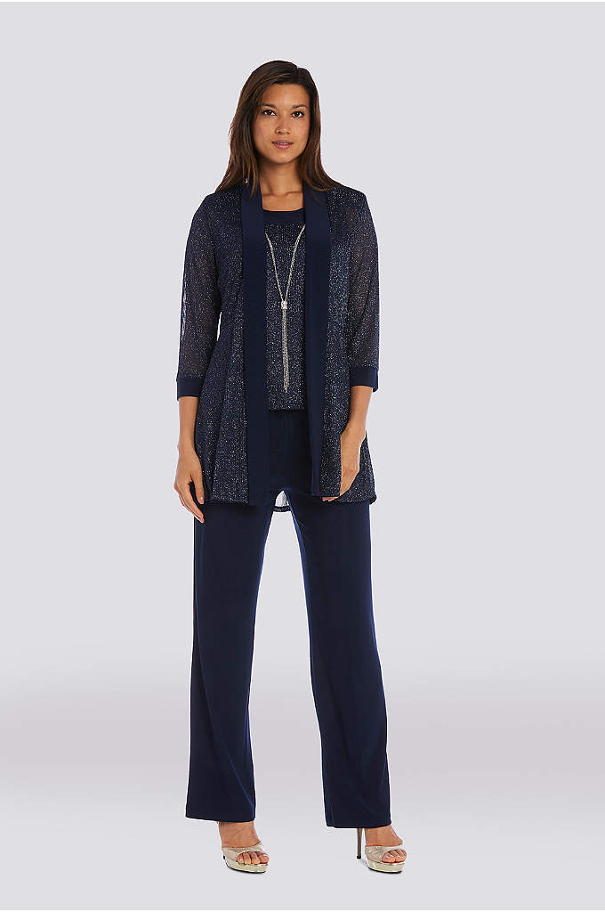 Textured Metallic Mock Three-Piece Pantsuit - This textured metallic mock three-piece pantsuit is designed