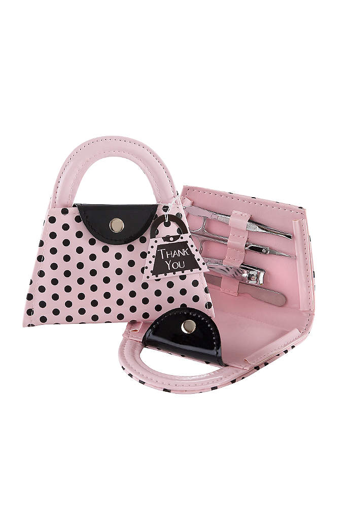 Pink Polka Purse Manicure Set - Add some cosmopolitan flair with these manicure sets