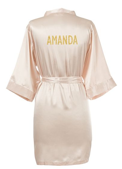 Personalized Glitter Script Name Luxury Satin Robe - Wedding Gifts & Decorations