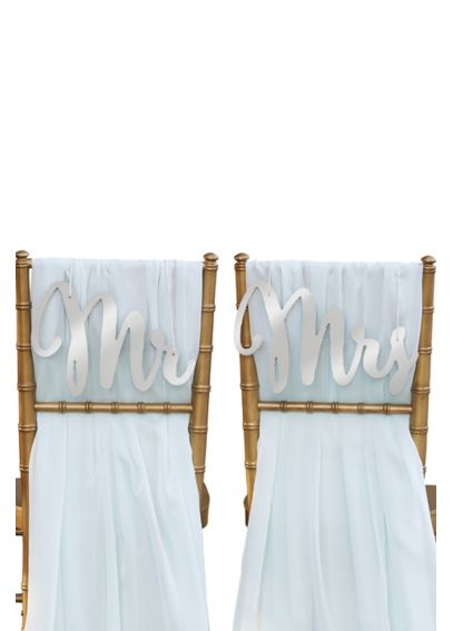 Silver Shimmer Classic Mr and Mrs Chair Signs 18093SV