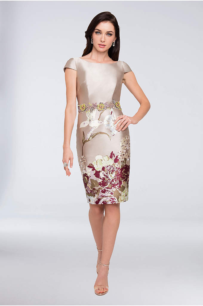 Floral-Embellished Printed Mikado Short Dress - Crafted of lustrous mikado, cinched with a beaded