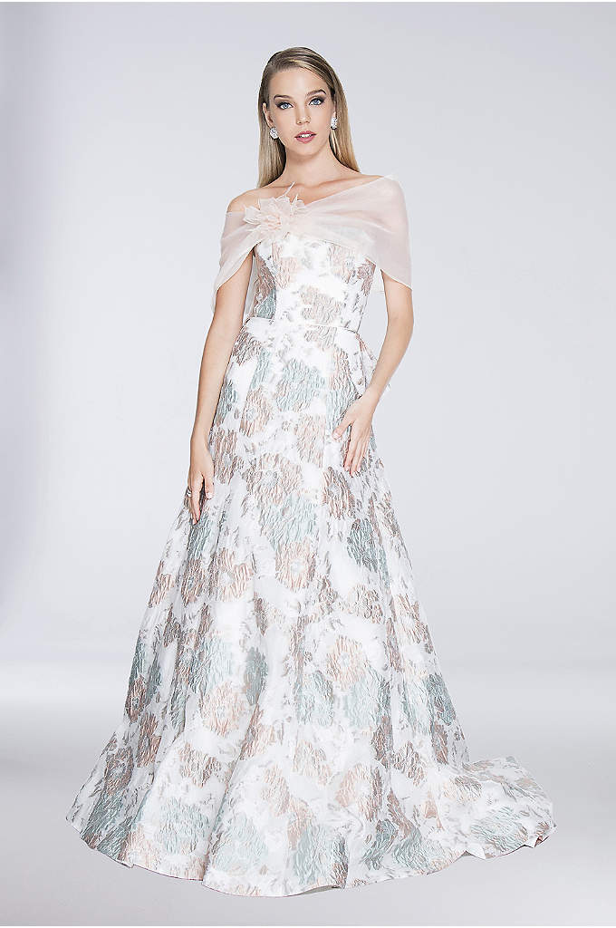 3D Floral Brocade Strapless Ball Gown with Wrap - A featherlight mesh wrap drapes across the shoulders
