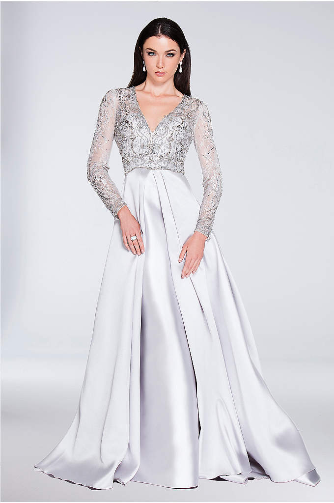 Beaded Long Sleeve V-Neck Ball Gown with Overskirt - You'll be the belle of the ball in