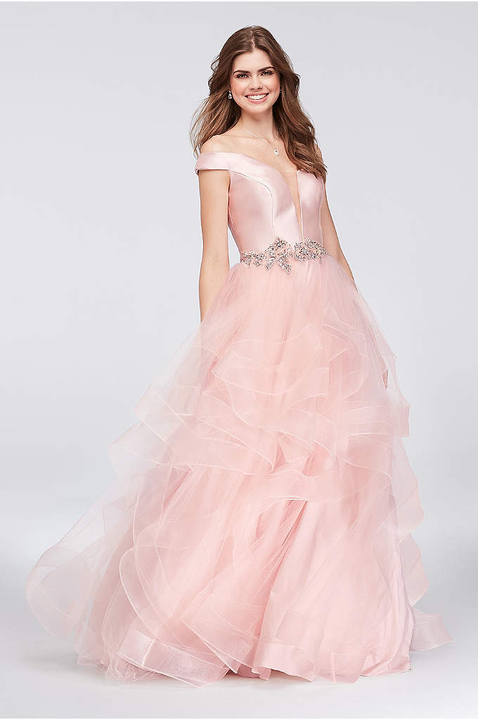 Mikado and Tulle Illusion Plunge Ball Gown - Inset with an illusion panel, the off-the-shoulder mikado