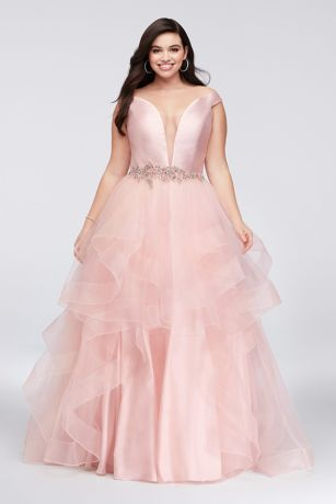 Mikado and Tulle Plunge Plus Size Ball Gown - Inset with an illusion panel, the off-the-shoulder mikado