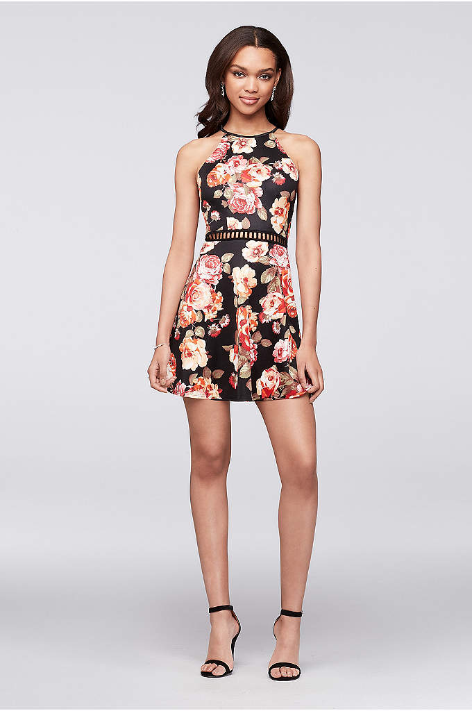 Fit-and-Flare Floral High-Neck Homecoming Dress - Perfect for homecoming, bright-blooming flowers and an openwork