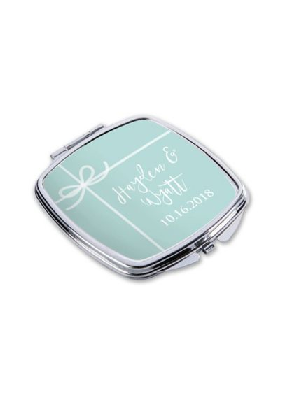 Personalized Something Blue Silver Metal Compact - Wedding Gifts & Decorations