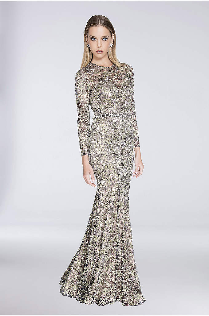 Embellished Lace Illusion-Sleeve Mermaid Dress - Look red-carpet ready in this long-sleeve lace mermaid