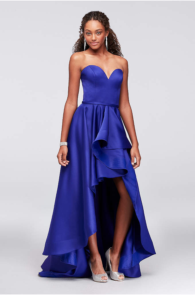 Satin Sweetheart High-Low Ball Gown - Both traditional and modern, this sweetheart-neckline satin ball