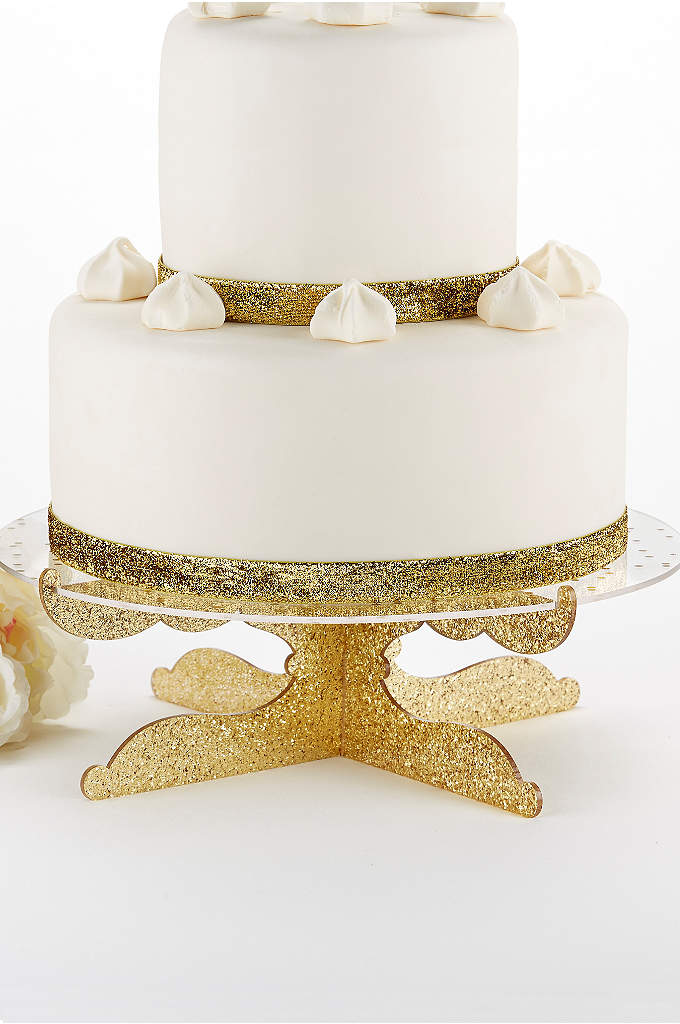 Party Time Gold Glitter Acrylic Cake Stand - The Party Time Gold Glitter Acrylic Cake Stand