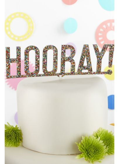 Hooray Multi Color Glitter Acrylic Cake Topper - Wedding Gifts & Decorations