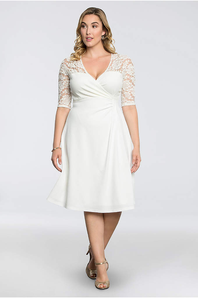 Lavish Lace Plus Size Dress - Featuring a wrap-style surplice top and beautiful illusion