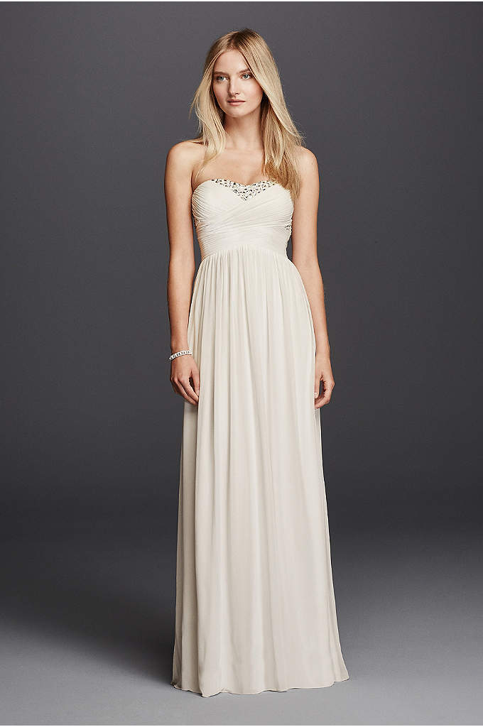 Strapless Mesh Pleated Crystal Embellished Dress - Romantic and glamourous in every way, this breathtaking