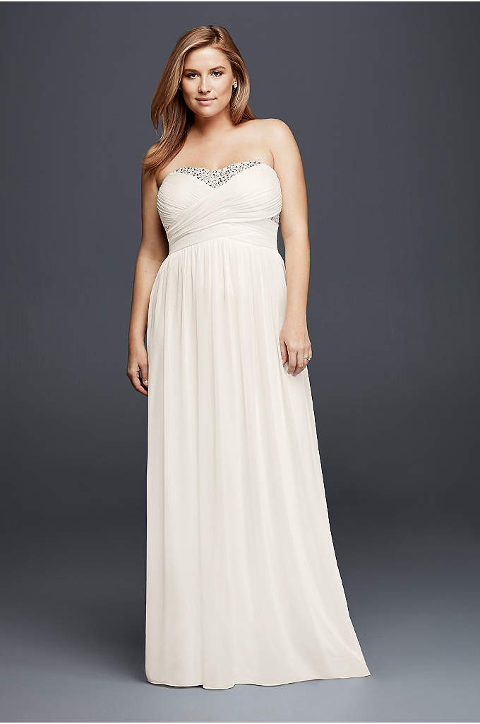Strapless Chiffon Crystal Plus Size Wedding Dress - The empire waist and sweetheart neckline of this