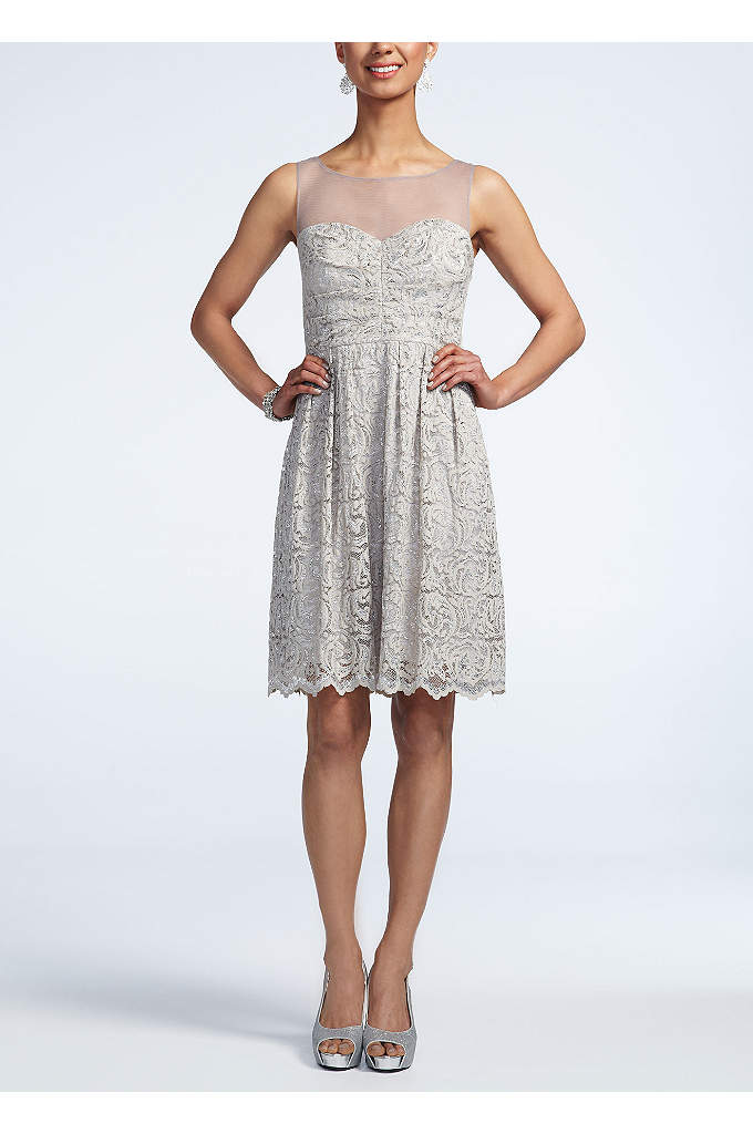 Sleeveless Illusion Neck Lace Dress