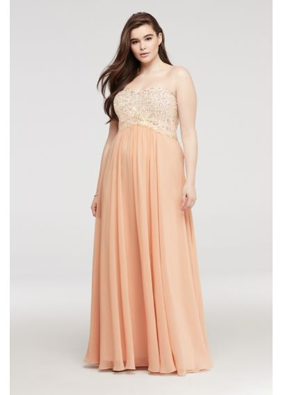 Strapless Chiffon Sweetheart Neckline Prom Dress 182520W
