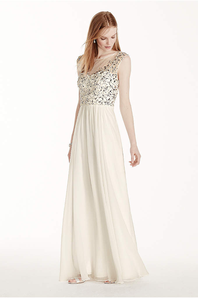Illusion Neckline Crystal Bodice Chiffon Dress - Dazzling in every way, this crystal illusion bodice