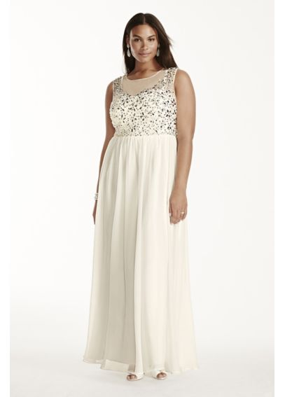 Crystal Bodice Plus Size Chiffon Dress 182892W