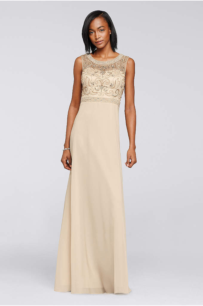 Long Chiffon Dress with Beaded Illusion Bodice - You will look breathtaking in this beautiful Mother
