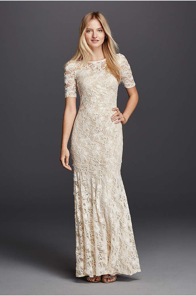 Illusion Short Sleeve Long Lace Sheath - Modest and unique you'll love this floor length