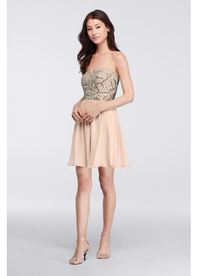 Short Dress with Beaded Bodice and Chiffon Skirt 183082DB
