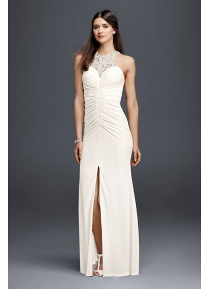 Jersey beaded halter sheath wedding dress david 39 s bridal for Wedding dresses new jersey