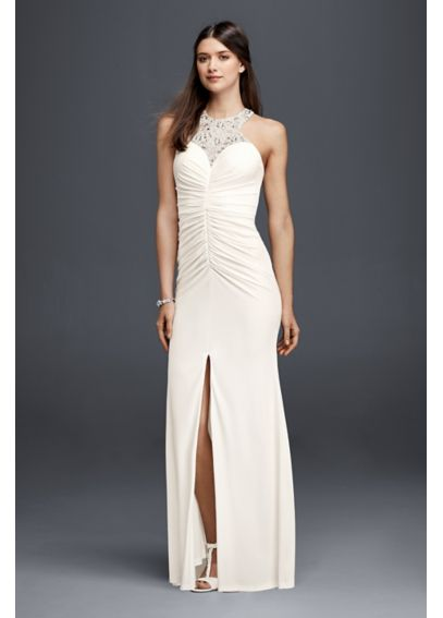 Jersey Beaded Halter Sheath Wedding Dress  183116DB