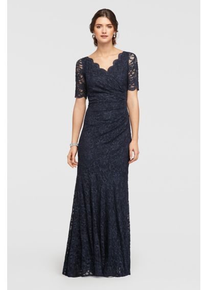 Allover Lace Elbow Sleeved Dress with Scallop Trim 183130