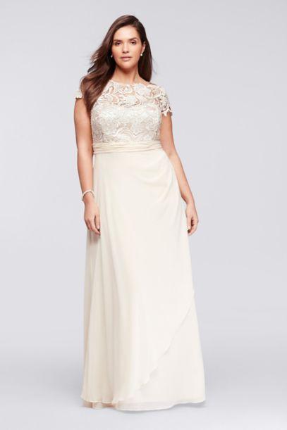 cap sleeve lace long plus size mesh dress | david's bridal