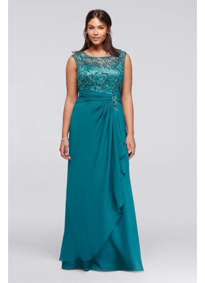 Beaded Plus Size Chiffon Dress with Cap Sleeves | David\'s Bridal
