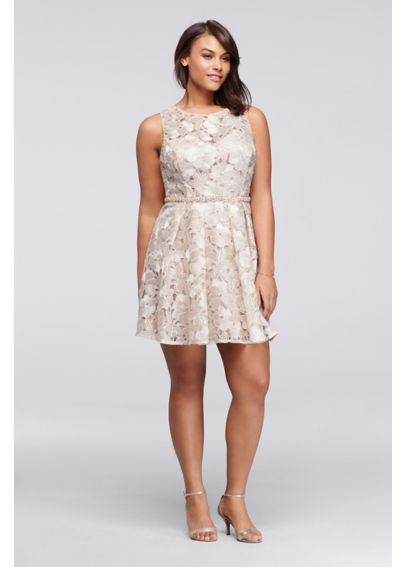 Short Pleated Plus Size Floral Lace Dress 183533DW