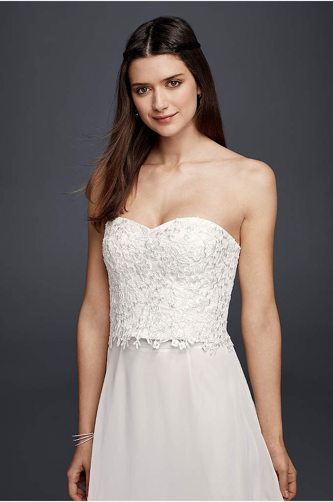 Strapless Beaded Lace Corset Top - Beaded lace blooms adorn this strapless corset top