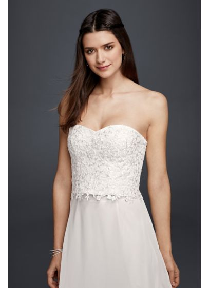 Strapless beaded lace corset top davids bridal for Lace corset top wedding dress