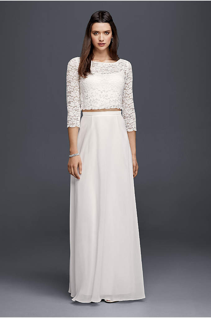Lace Wedding Crop Top with 3/4 Length Sleeves - Bridal separates are trending for a reason. Pair