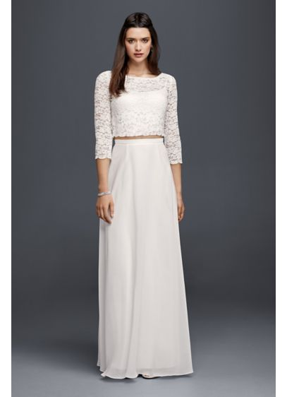 Lace wedding crop top with 3 4 length sleeves davids bridal for Long sleeve wedding dress topper