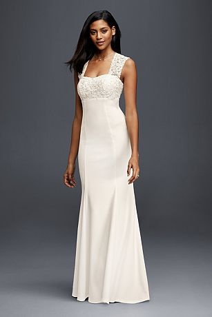 Lace and Crepe Sheath Wedding Dress