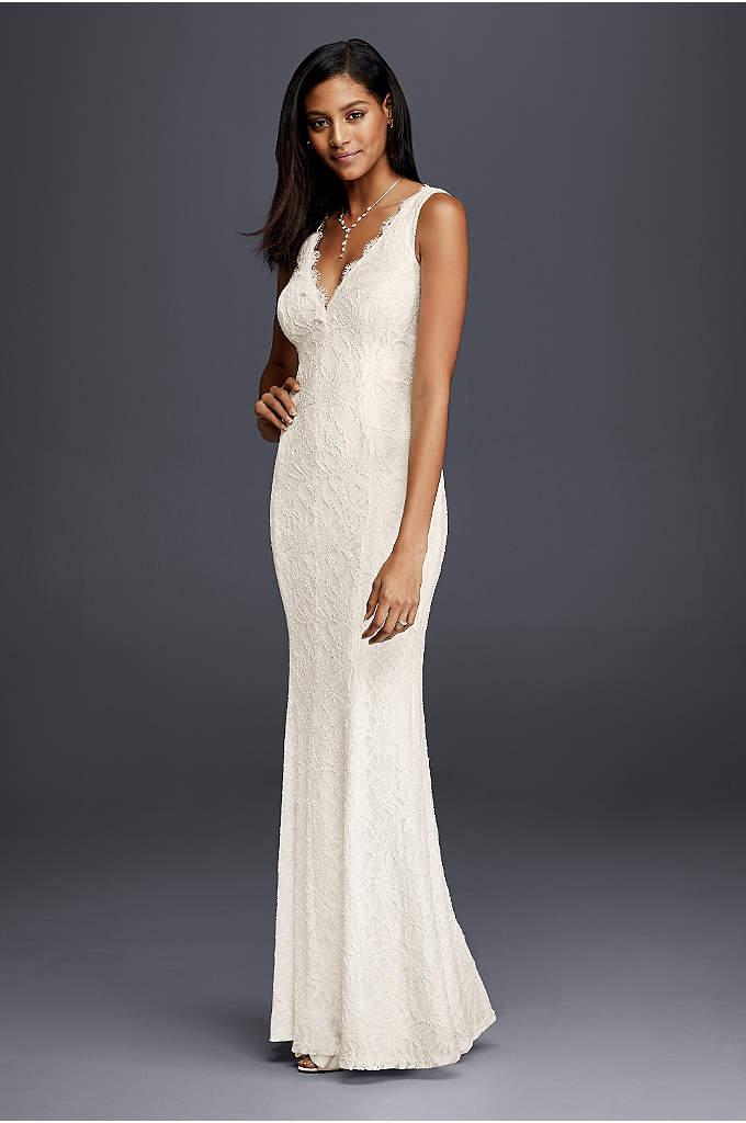 Allover Lace V-Neck Sheath Wedding Dress - Wearing a classic sheath lace wedding dress means