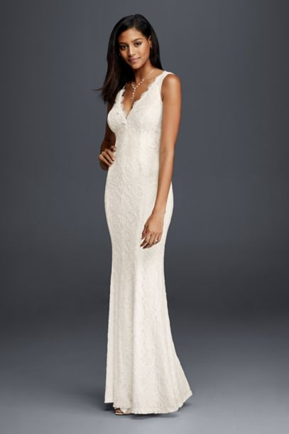 allover lace vneck sheath wedding dress davids bridal