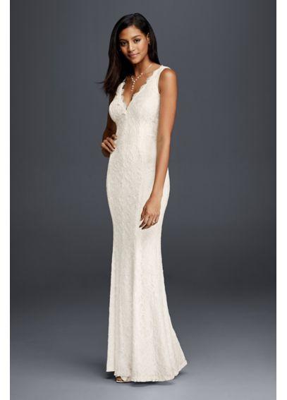 Allover lace v neck sheath wedding dress davids bridal for Sheath v neck wedding dress