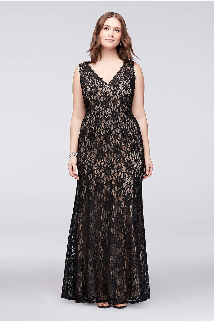 Allover Lace V-Neck Plus Size Sheath Gown - Infused with stretch for a comfortably curve-hugging fit,